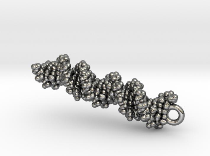 DNA Molecule Earring / Pendant Silver 3d printed