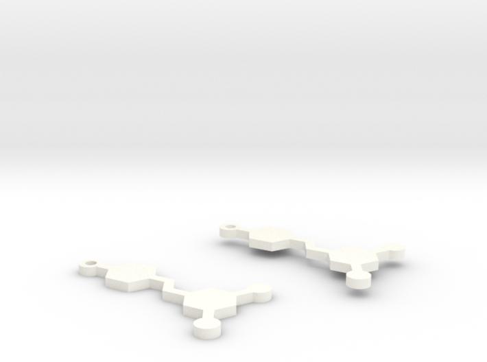 Resveratrol Red Wine Molecule Earrings 3d printed