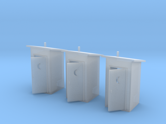 N-Scale Slant Roof Outhouse (3-Pack) 3d printed