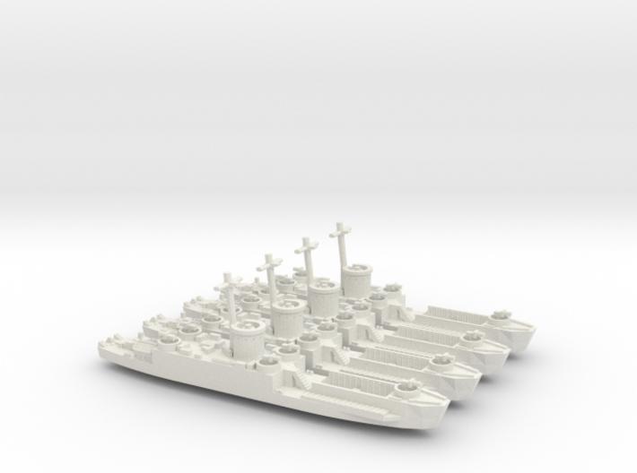 4 Off LCI(L) Late Forward Gun Tub 1/700 Scale 3d printed
