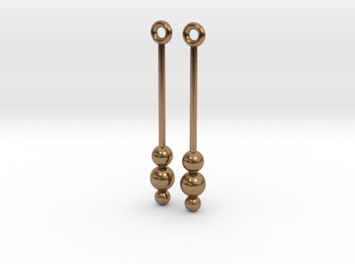 Three Orbs - Earrings - Silver or Brass 3d printed