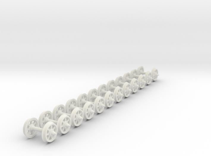 55n2 wheels on axles 7 Spoke 9.8 mm diameter 12mm 3d printed