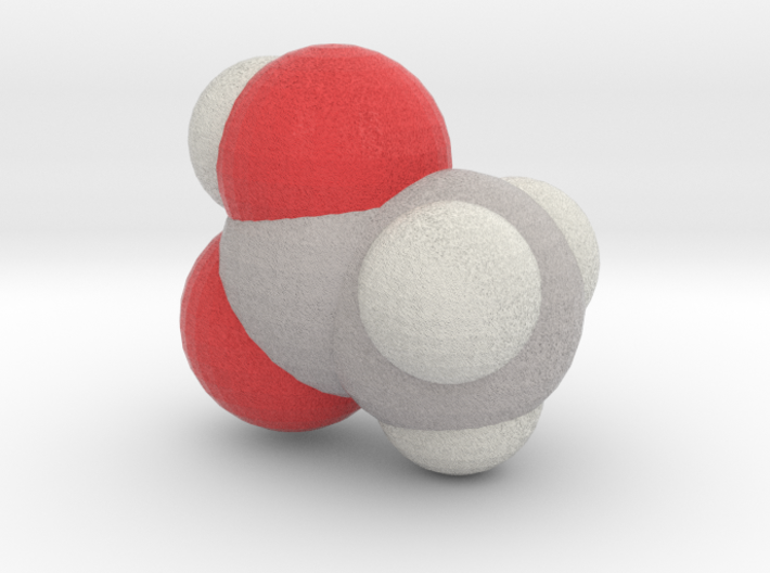Acetic acid molecule (x40,000,000, 1A = 4mm) 3d printed