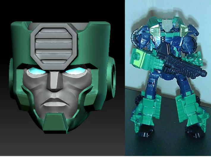 KUP homage Ironside for TF Prime Ironhide 3d printed Ironside head printed in Frosted Ultra Detail on TF Prime Kup body
