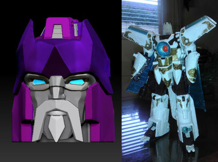 Alpha Trion homage Lord Valen for TF Voyager Vecto 3d printed Lord Valen head printed in Frosted Ultra Detail with Voyager Vector Sigma Body