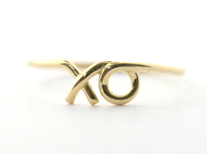XO Midi Ring 3d printed Finished sample in 14k yellow Gold