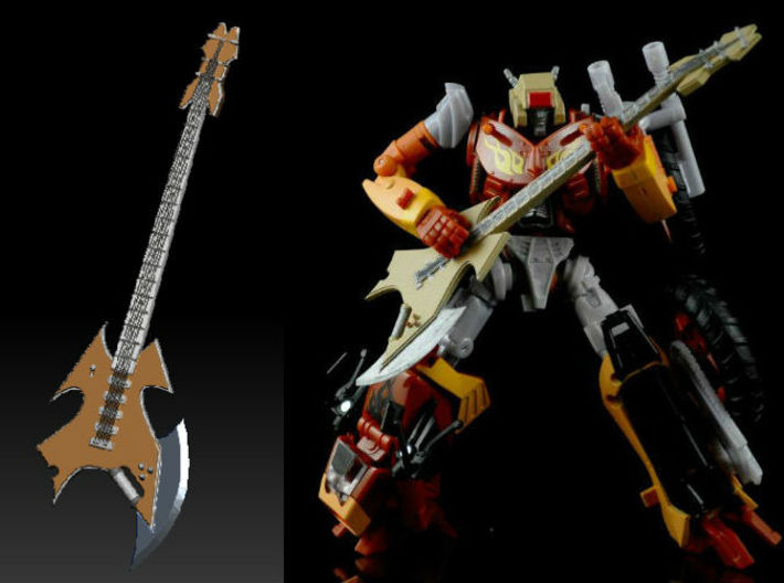 Metal Head guitar Ver 1 3d printed (Painted) Metal Head's Guitar printed in Clear Frosted Ultra Detail with Metal Head's head and TF Gen. Wreck-gar body (both head and toy sold Separately)