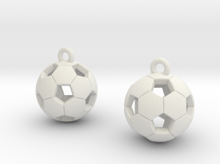 Soccer Balls Earrings 3d printed