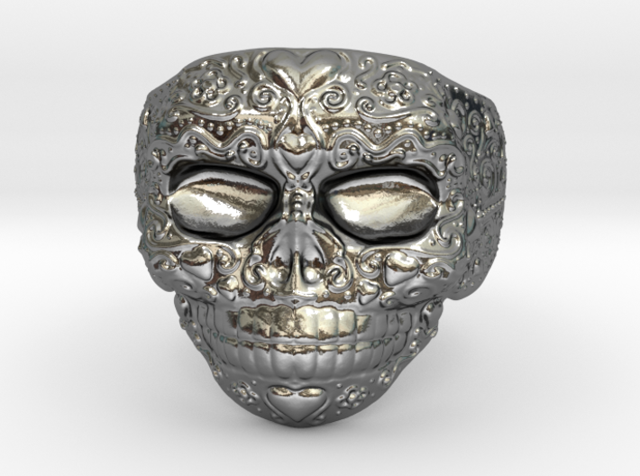 Day Of The Dead Ring - Size 12 3d printed