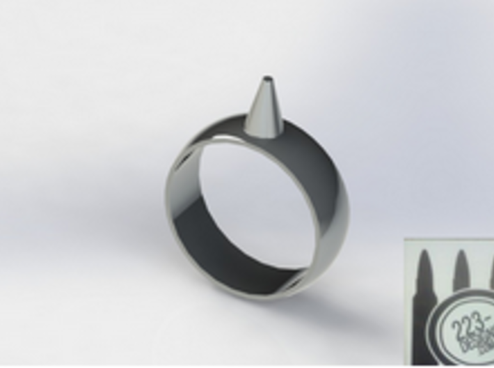 Size 16 223-Designs Bullet Button Ring 3d printed