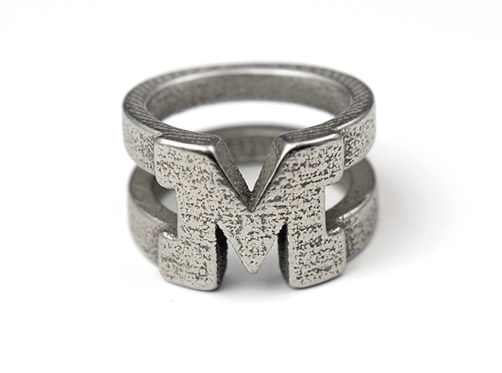 M Ring 3d printed Stainless Steel