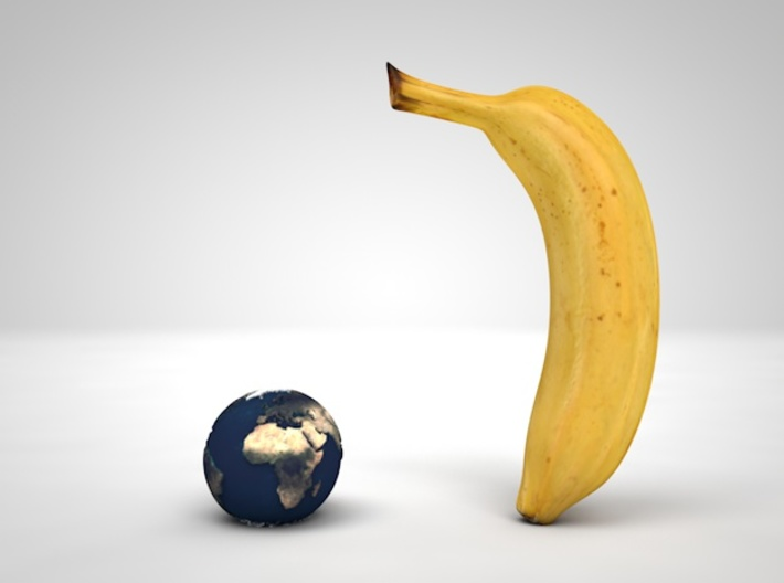 Tactile Miniature Earth (No Stand) 3d printed Banana for scale