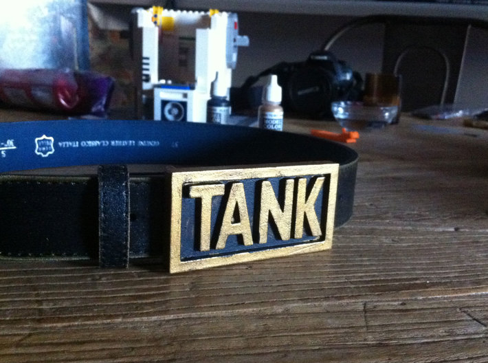 TANK belt buckle 3d printed Painted and antiqued WS&F.