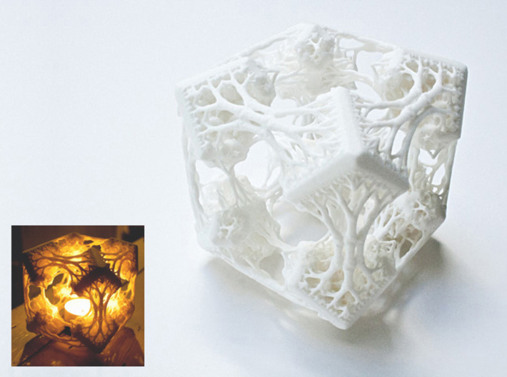 Cubic Woods - Fractal Sculpture & Light Cave 3d printed With candle in the small image (be careful - needs a candle holder!)