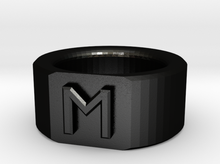 Flat-Faced Ring with Initial 3d printed