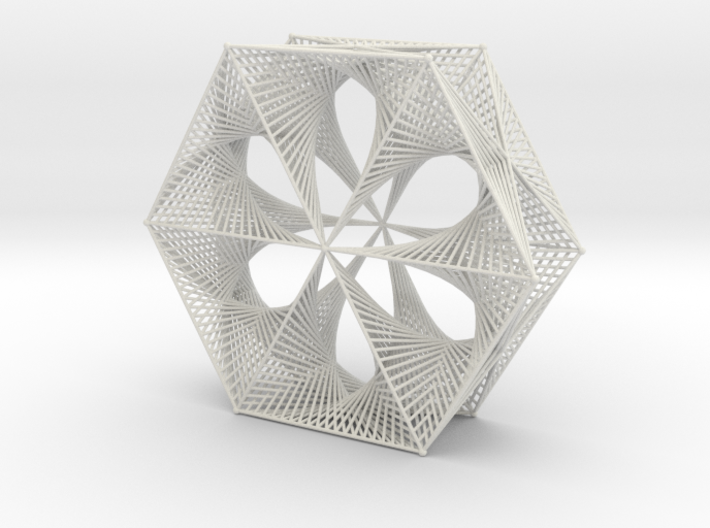 Wired Six Petals Straight Line Curves Doubly Mesh 3d printed