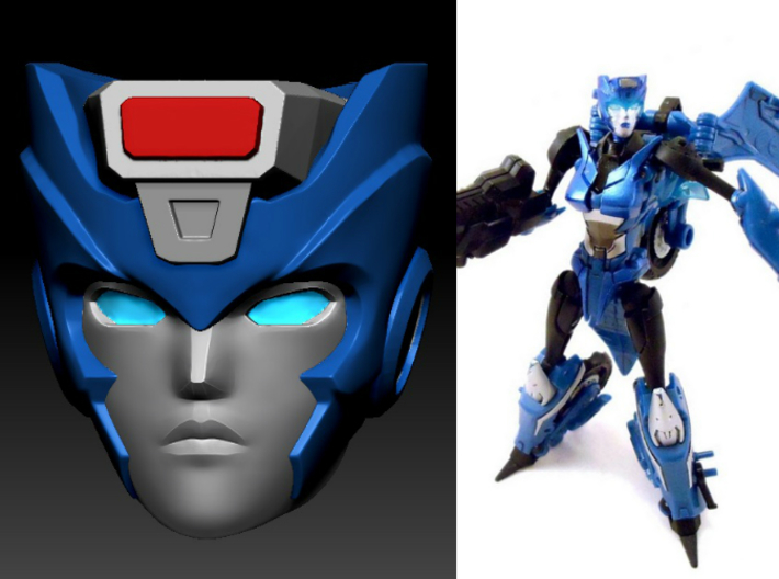 Chromia homage Indigo U128R Head For RID RC 3d printed Indigo head printed in Clear Frosted Ultra Detail on Deluxe TF Prime Arcee body (Custom painted head by TM2 Dinobot