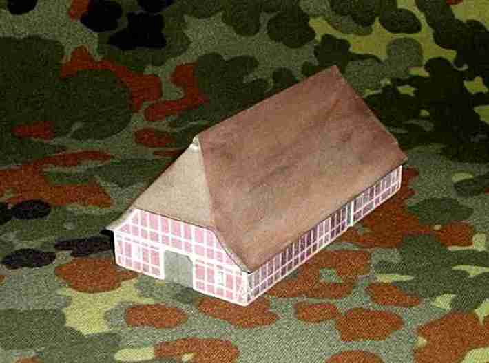 1/300 North German Timberframe Farm House - Brick 3d printed Picture of the model. Colors slightly faded after varnishing with a water-soluble acrylic