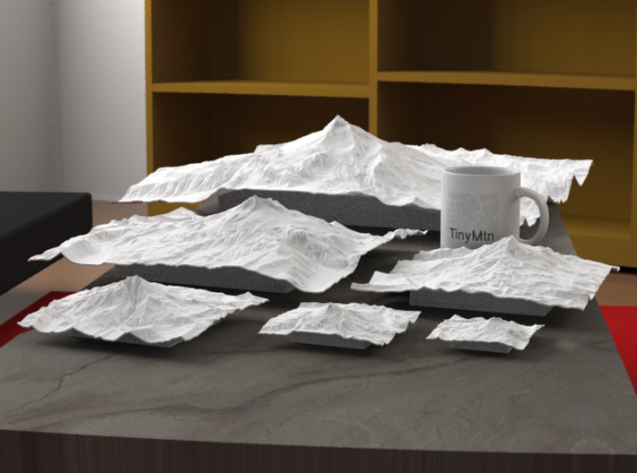 """12'' Mt. Jefferson, Oregon, USA, WSF 3d printed Radiance rendering of all available sizes: 3"""", 4"""", 6"""", 8"""", 12"""", 20""""."""