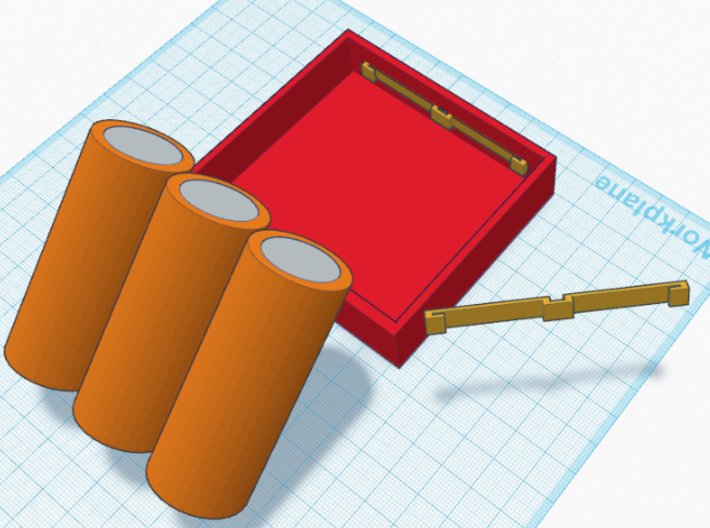 Triple (3) 26650 Battery Holder / Sled 3d printed Contact mockup