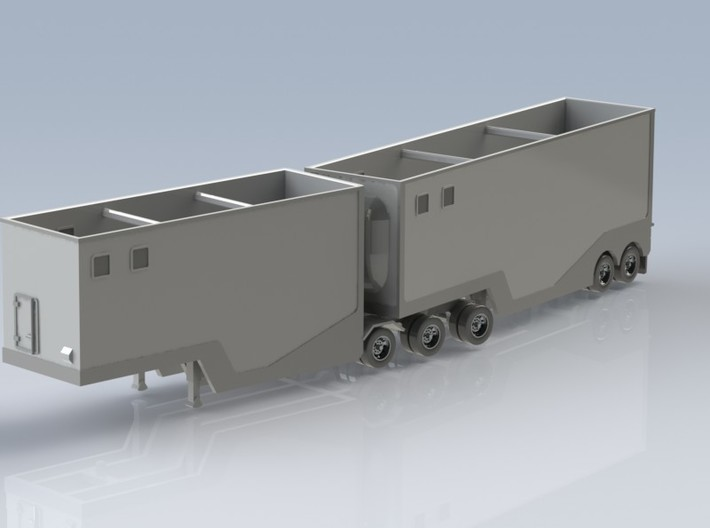 N scale 1/160 Woodchip B-train trailer 3d printed A CAD render of the other side.