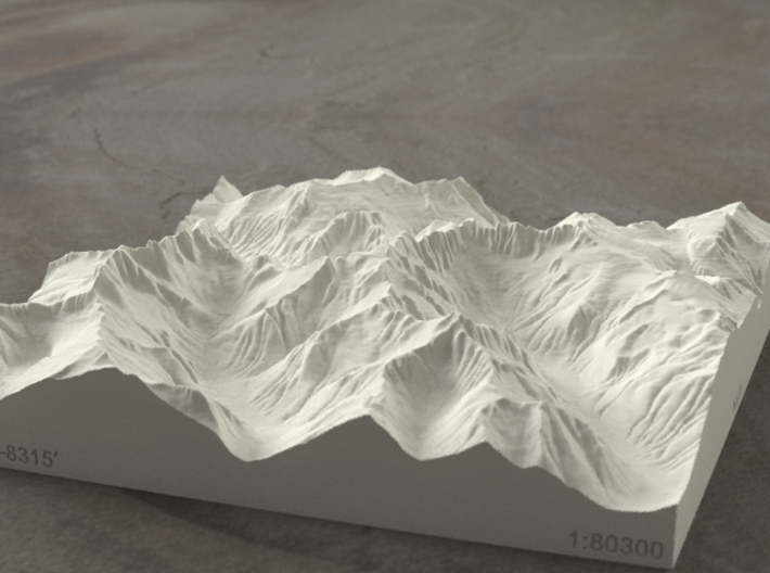6'' Picket Range, Washington, USA, Sandstone 3d printed Rendering of model from the East, with McMillan Creek on the left
