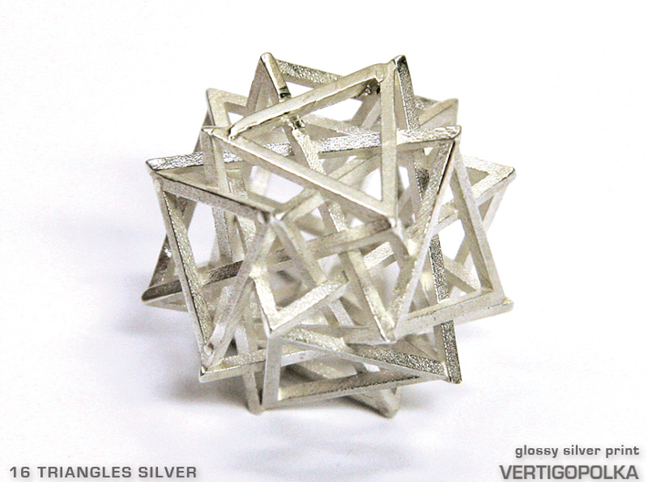 16 Triangles Silver 3d printed