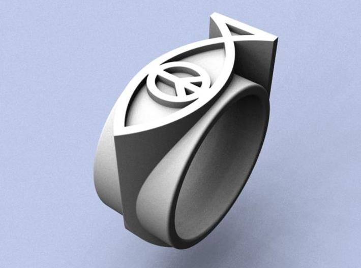 Peace On Earth Ring - Size 9 (18.99 mm) 3d printed