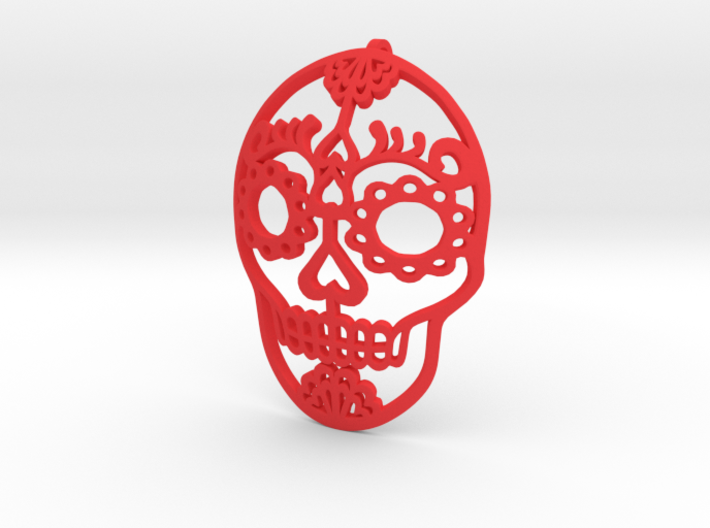 Day of the Dead Skull Pendant 3d printed