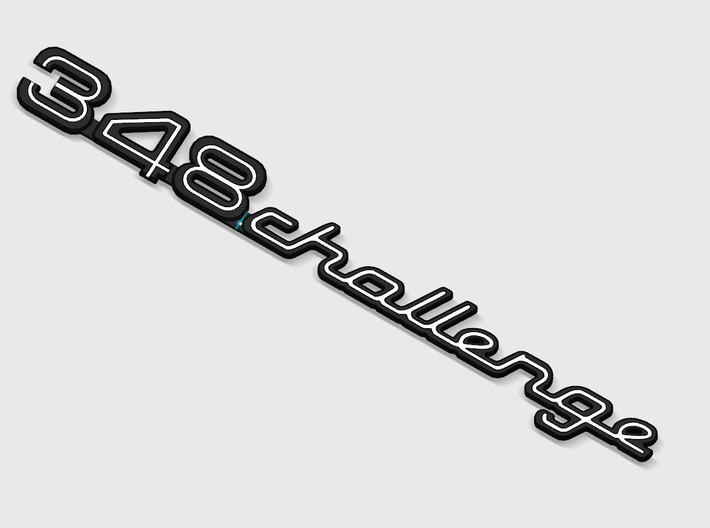 348 CHALLENGE BADGE 3d printed 348 Challenge badge for the rear deck lid, with white plastic groove inserts, render.