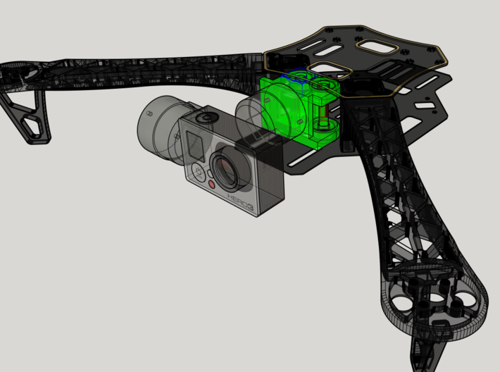 DJI F450 Low Profile Gimbal Mount 3d printed Isometric view from 3D Design Software