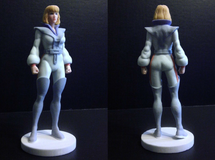 Carly homage Space Woman 6.4inch Full Color Statue 3d printed Quarter and Back view of 6.4 inch Carly figure printed in Full Color Sandstone