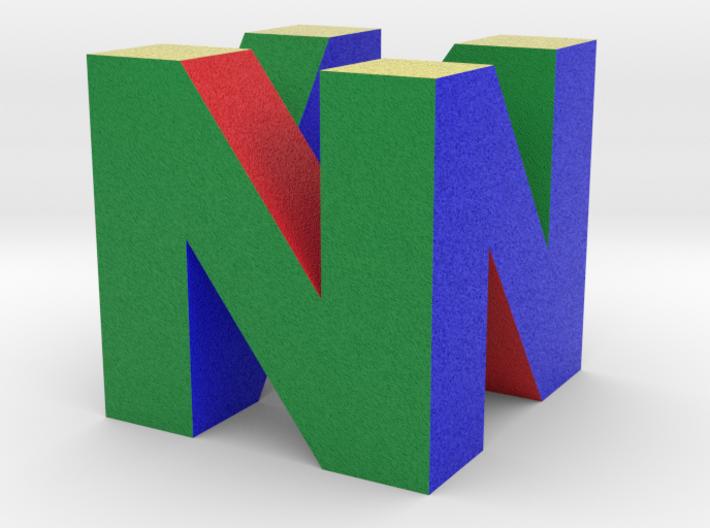 """N64 Logo - 5"""" Desk Cube Full Colour Sandstone 3d printed"""