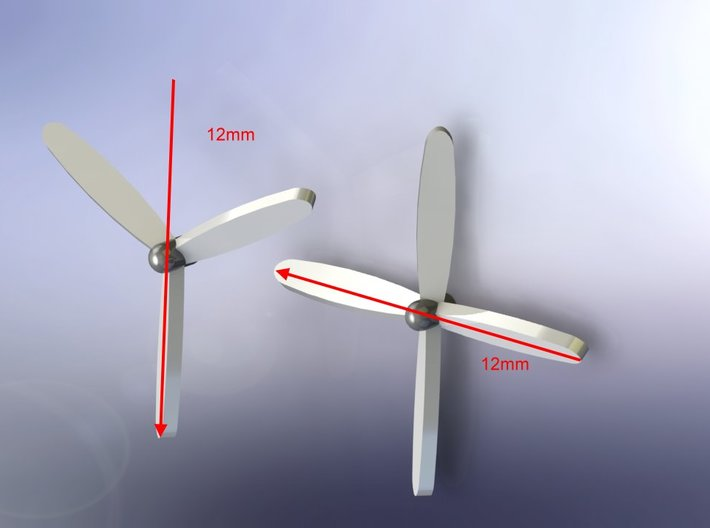 3-Blade Propeller x 8 12mm Diameter 1/285 6mm 3d printed 3- or 4- Blade Props