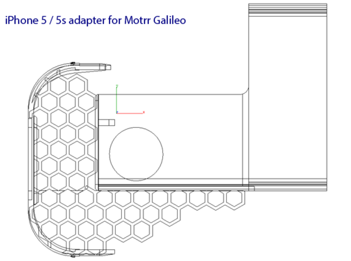 Motrr Galileo iPhone 5 & 5s  panorama nodal point  3d printed x-ray view of the final Motrr Galileo component layout