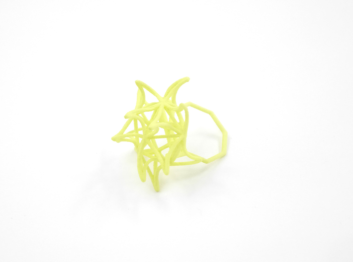 Aster Ring (Small) Size 7 3d printed Key Lime Nylon (Custom Dyed Color)