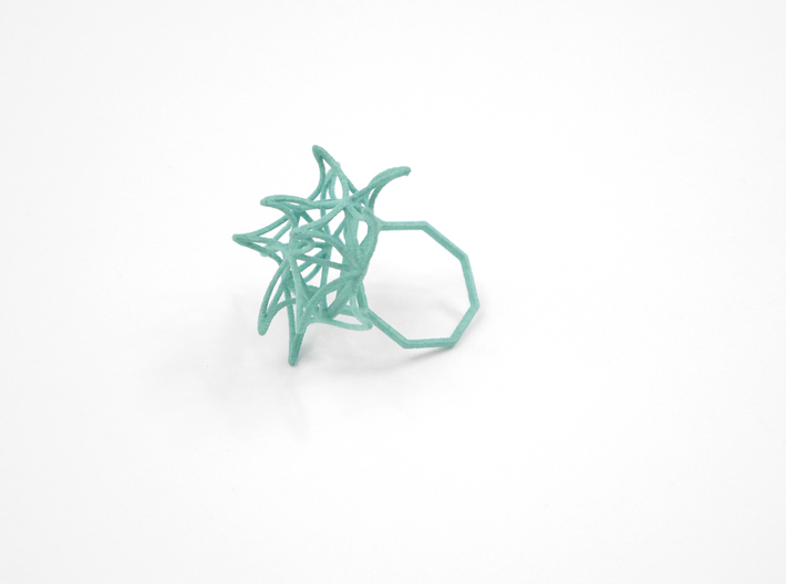 Aster Ring (Small) Size 7 3d printed Teal Nylon (Custom Dyed Color)