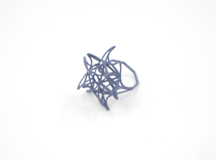 Aster Ring (Small) Size 6 3d printed Azurite Nylon (Custom Dyed Color)