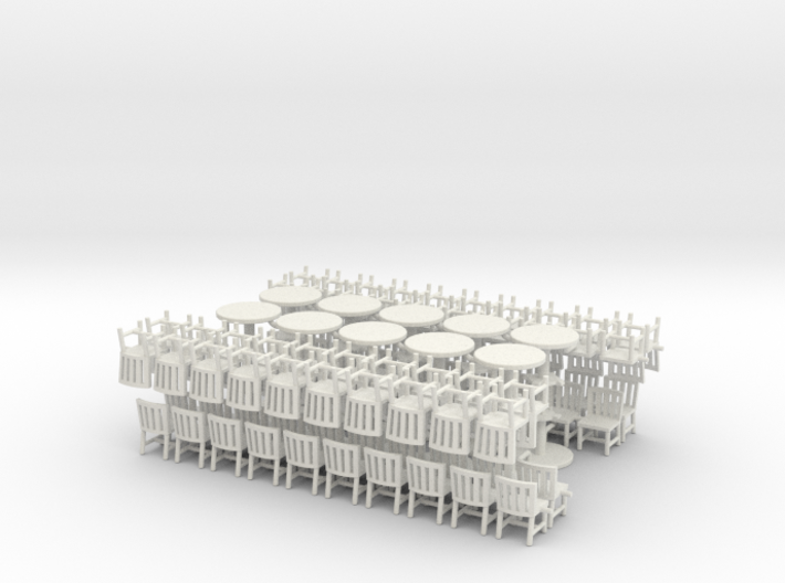 Chairs And Tables X5 Four Pack 3d printed