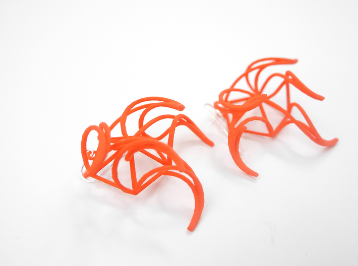 Aster Earrings 3d printed Coral Nylon (Custom Dyed Color)