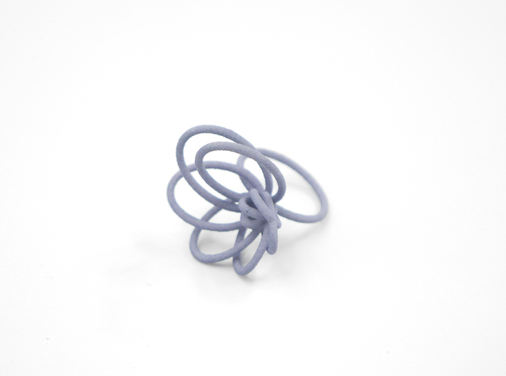 Flora Ring A (Size 6) 3d printed Azurite Nylon (Custom Dyed Color)
