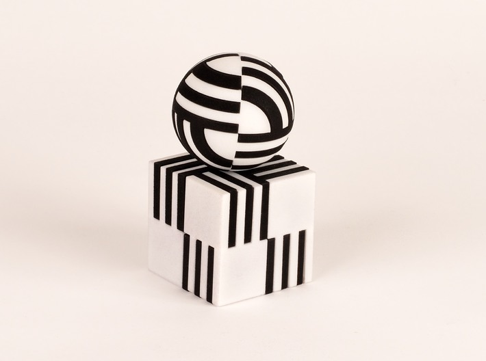 Sphere Version Of Simple Cube Positive 4 Piece 3d printed combine with cube puzzle