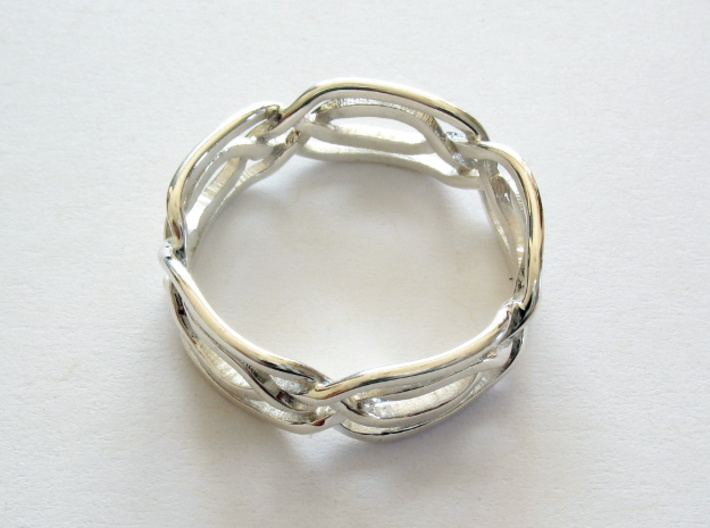 Celtic Eyes ring 3d printed Ring printed in premium silver, size 8.25