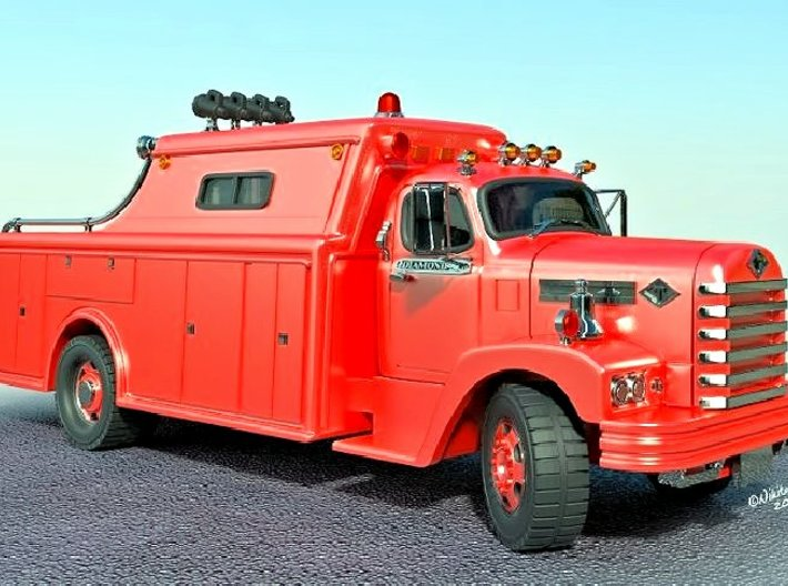 Classic Fire Rescue Truck (1:87) 3d printed Add a caption...