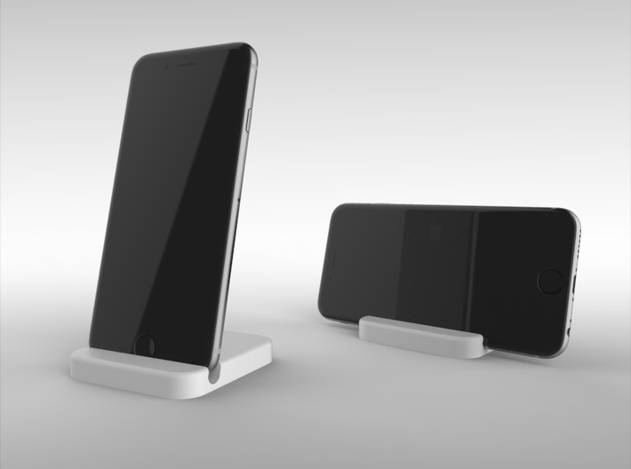 iPhone 6 Travelers Stand 3d printed This rendering illustrates how the product can be used in portrait and landscape configurations