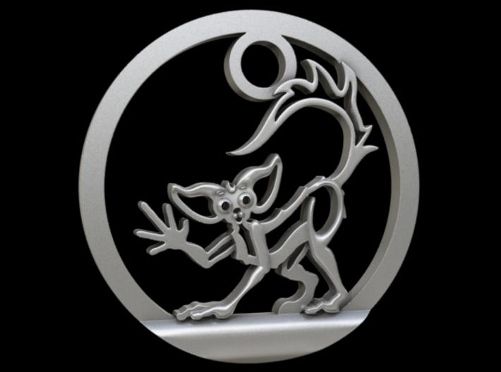 Aye Aye Pendant 3d printed Aye-Aye Lemur Pendant in Raw Silver