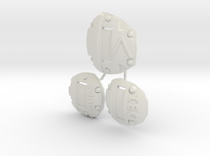 1:6 scale sci-fi Armor Plate alphanumeric 3d printed