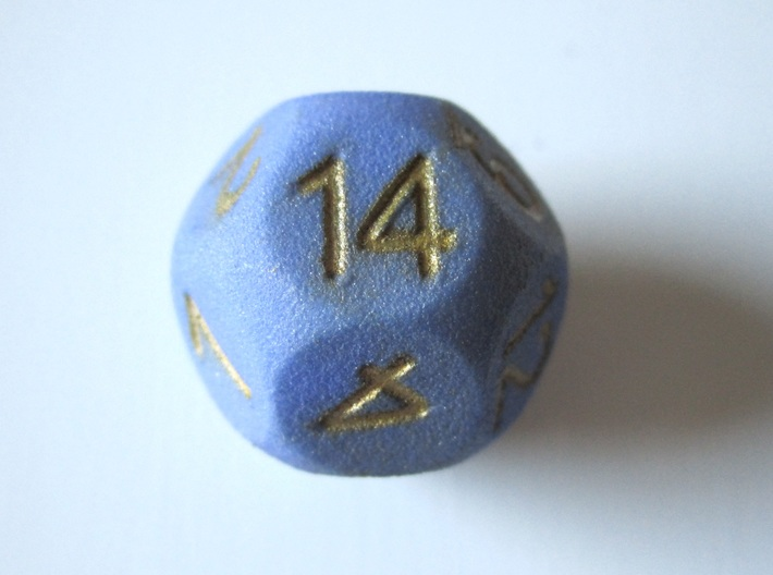D14 Sphere Dice 3d printed Inked and varnished
