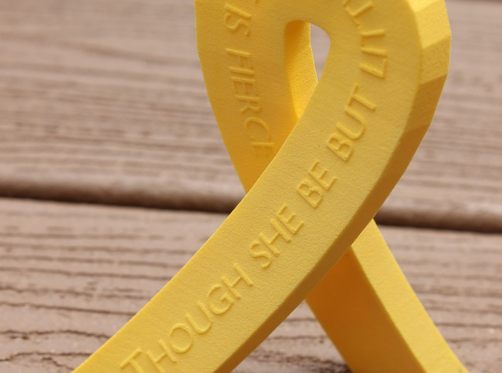 Standing Cancer Ribbon - She Is Fierce 3d printed Standing Cancer Ribbon in Yellow Strong & Flexible Plastic