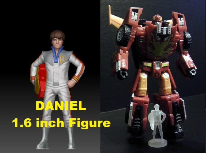 Daniel homage Space Boy 1.6inch Transformers Mini- 3d printed Size comparison of 1.6 inch Daniel printed in Frosted Ultra Detail with a Generations Deluxe Class Hotrod/Rodimus. Hotrod/Rodimus figure sold separately.